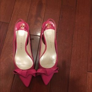 Pink patent leather kitten heel slingbacks